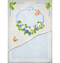 Shabchic vintage wedding floral invitation vector