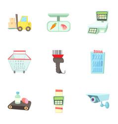 Shop icons set cartoon style vector