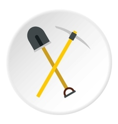Shovel and pickaxe icon flat style vector