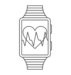 Smartwatch sport icon outline style vector image