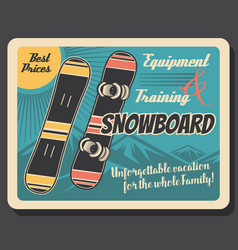 Snowboards winter sport equipment skier gear vector