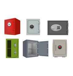 Steel safe deposit security 3d box personal vector