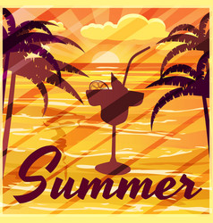 Summer palm trees sea evening cocktail banner vector