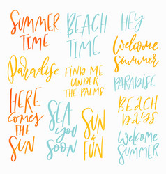 summer vacation lettering set vector image