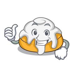 Thumbs up cinnamon roll character cartoon vector