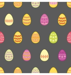 Tile pattern with easter eggs on black background vector