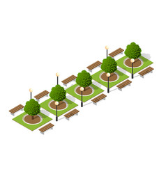 Trees a park bench vector