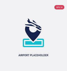 Two color airport placeholder icon from airport vector