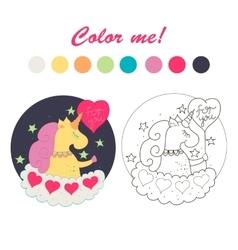 Unicorn on a cloud color book vector