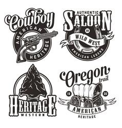 Vintage wild west prints set vector