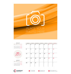 wall calendar planner template for 2017 year may vector image