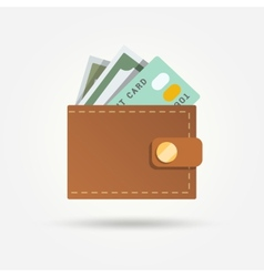 Wallet with money isolated vector image