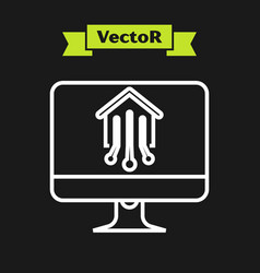 white line computer monitor with smart home icon vector image