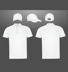 white polo t shirt and baseball cap vector image