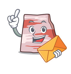 With envelope pork lard character cartoon vector