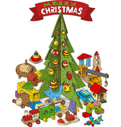 Wooden christmas tree with toys vector