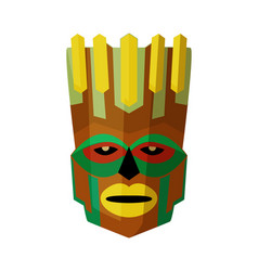 wooden tiki head mask isolated on white background vector image