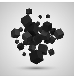 3d cubes geometric background vector