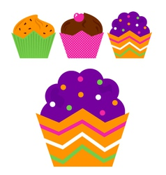 Birthday Muffin set isolated on white vector image vector image