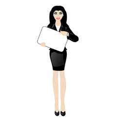cartoon business lady with a sign vector image