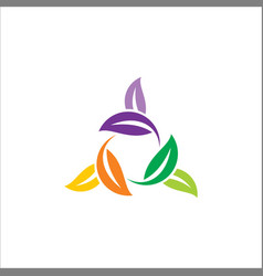 Circle leaf colored logo vector