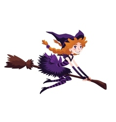 Cute redhead witch flying on a broom and smiling vector image vector image