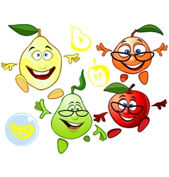 funny cartoon characters fruit vector image