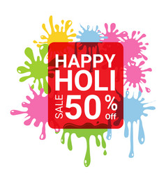 happy holi sale 50 percent off for discount vector image