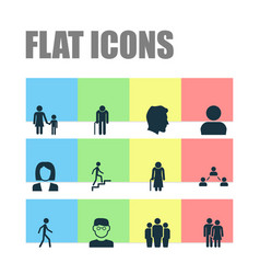 Person icons set collection of family ladder vector