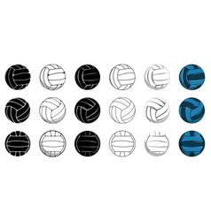 set volleyball icon contour ball colored ball vector image