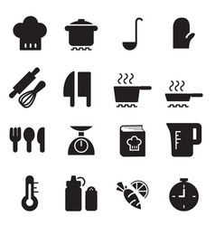 silhouette cooking icons set vector image