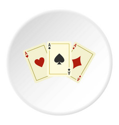 aces playing cards icon circle vector image