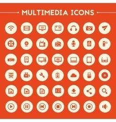 Big Multimedia icon set vector image vector image