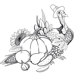 Black And White Thanksgiving still life vector image vector image