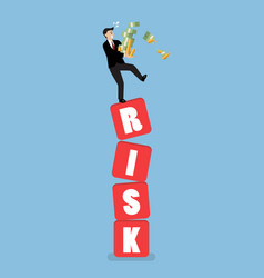 businessman carrying his money on shaky risk vector image vector image