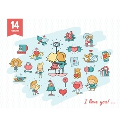 Flat design Valentines day love icons and romance vector image