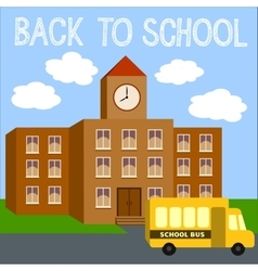Modern school background with yellow bus vector image