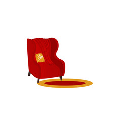 armchair with woolen blanket or rug vector image vector image
