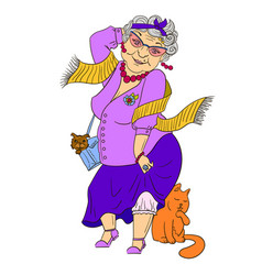 Big fashion grandmother with cat and dog vector