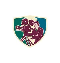 Cameraman Moviemaker Vintage Camera Shield vector image vector image
