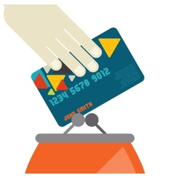 Credit Card And Purse In Flat Design Style vector image vector image