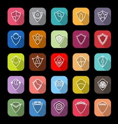 Design shield line icons with long shadow vector image vector image