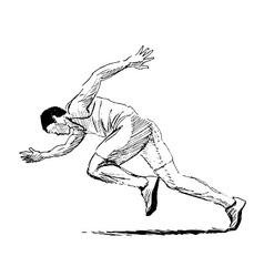 Hand sketch running man vector