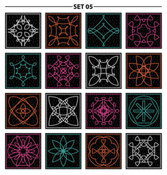 set of floral linear monogram design line art vector image