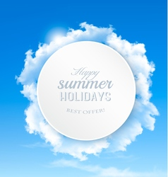 Summer background with blue sky and clouds vector image