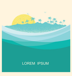 tropical island with palms vintage style poster vector image vector image