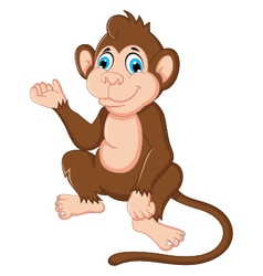 cute monkey cartoon sitting vector image vector image