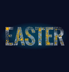 easter linear style banner vector image vector image