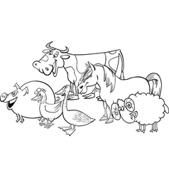 farm animals group for coloring vector image vector image
