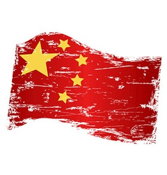 grungy china flag vector image